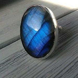 Bohemian Labradorite ring, OOAK ring